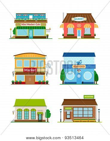 Shop store facade set