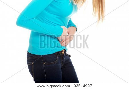 Young woman suffering from stomachache
