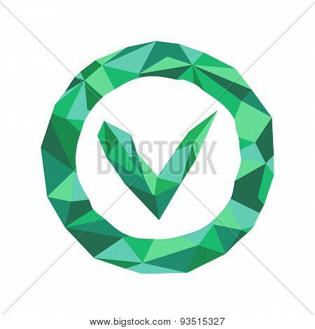 Polygonal Ok Icon With Geometrical Figures