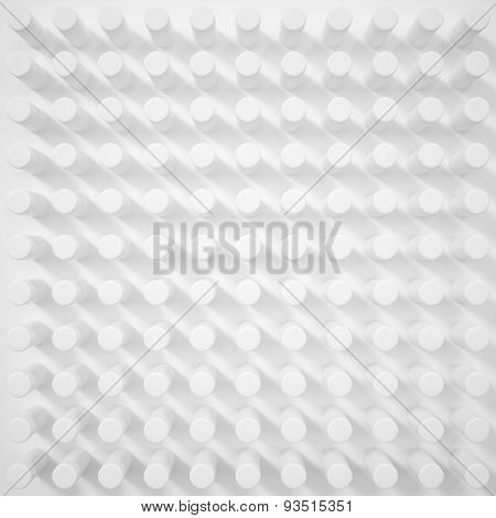 3D Concept White Abstract Background Design Of Cylinders With Shadows.