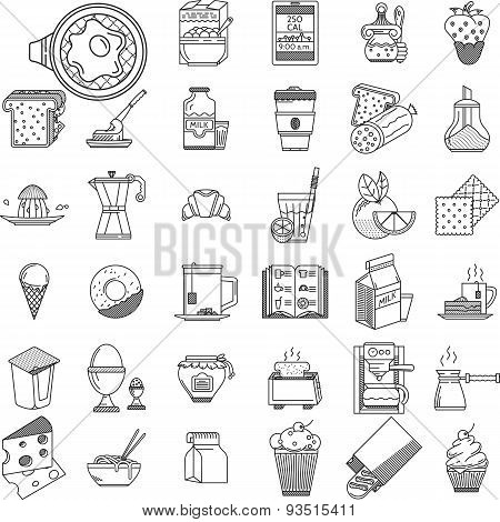 Linear icons vector collection for food