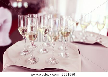 Four Glasses Of Wine On A Wedding Day