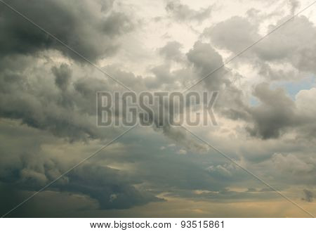 Fluffy Rain Clouds Against Cloud Filled Sky