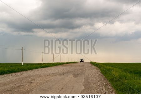 Single Truck And Isolated Road