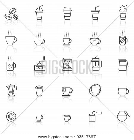 Coffee Line Icons With Reflect On White