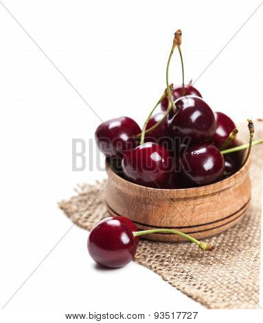 Cherries In Wooden Bowl