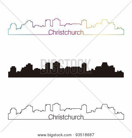 Christchurch Skyline Linear Style With Rainbow