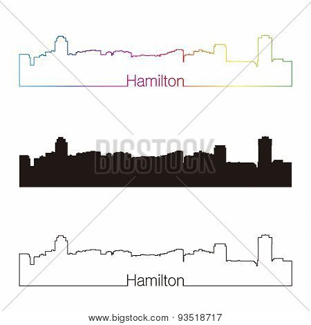 Hamilton Skyline Linear Style With Rainbow