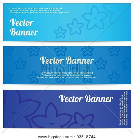 Vector abstract banner with blue flowers