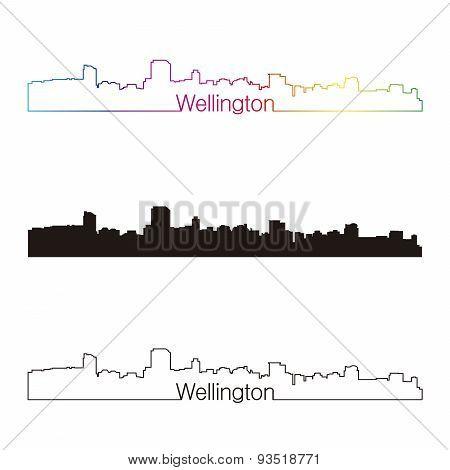 Wellington Skyline Linear Style With Rainbow