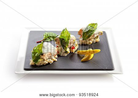 Salmon Fillet with Risotto and Lemon Slice