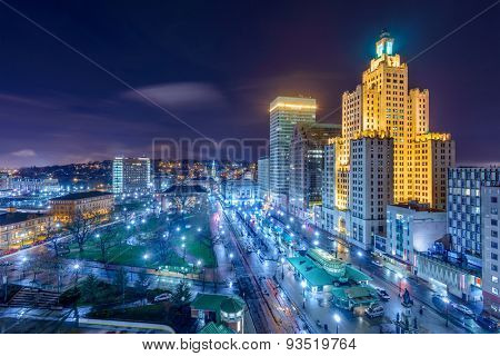 Providence, Rhode Island, USA cityscape at night.