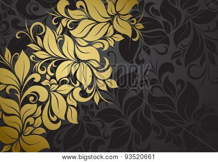 gold vintage floral pattern on black