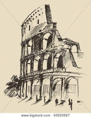 Coliseum Hand Drawn Vector Illustration Sketch