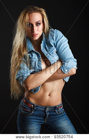 Beautiful woman body in jeans