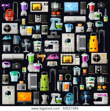 appliances a set of colored icons. vector. flat illustration