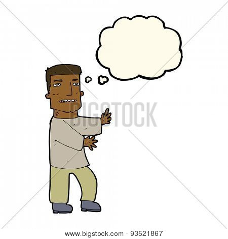 cartoon man gesturing with thought bubble