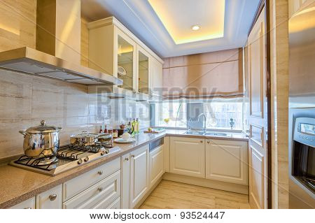 modern kitchen in villa with luxury decoration and design