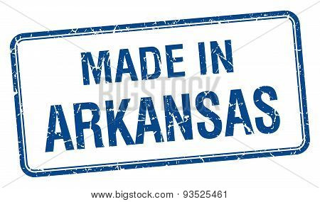 Made In Arkansas Blue Square Isolated Stamp