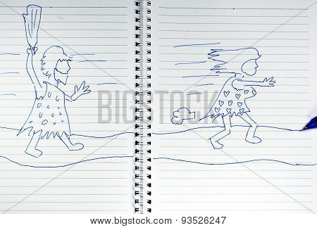 drawing of ancient man chasing woman