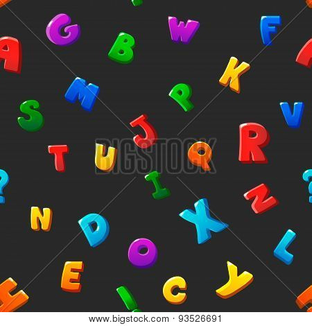 Seamless pattern cartoon kids alphabet bubble letters on black background