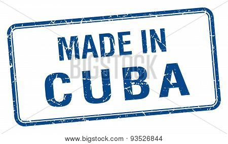 Made In Cuba Blue Square Isolated Stamp