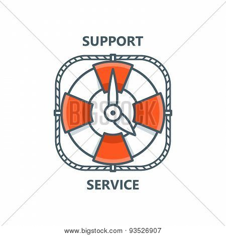 Lifebuoy As Clock. Support Service Concept. Lineart Vector Illustration