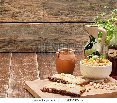 Hummus On Bread.
