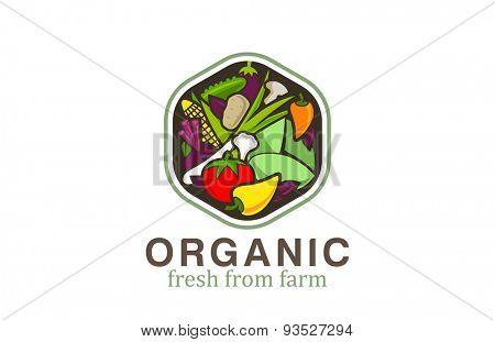 Vegetable Logo design vector template hexagon shape. Vegetarian food Logotype concept. Shop, Market concept idea