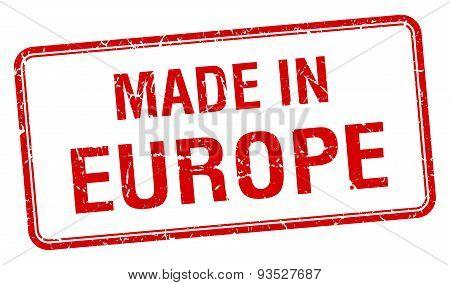 Made In Europe Red Square Isolated Stamp