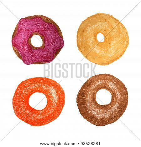 Four donuts isolated on white. Colored Pencils Drawing. Doughnut sketch.