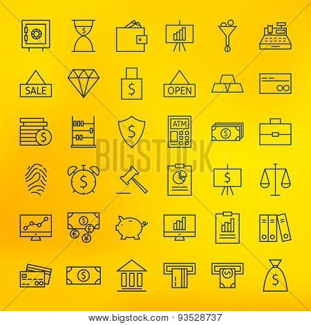 Bank Banking And Finance Business Line Big Icons Set