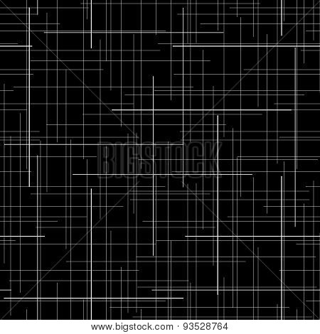 Black and white abstract backdrop. Plaid Fabric texture. Random lines. Seamless pattern.