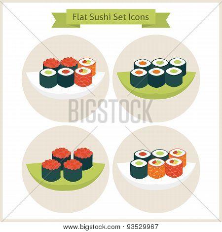 Flat Sushi Circle Icons Set
