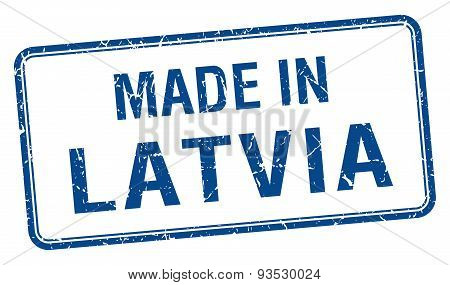 Made In Latvia Blue Square Isolated Stamp