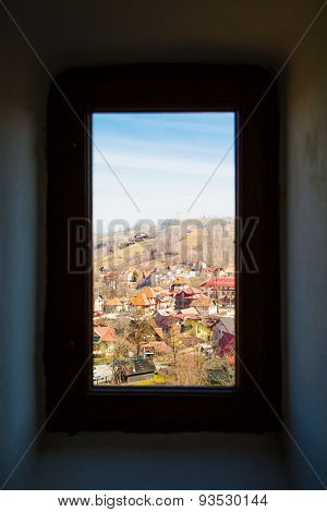 Window view of the old Romania village