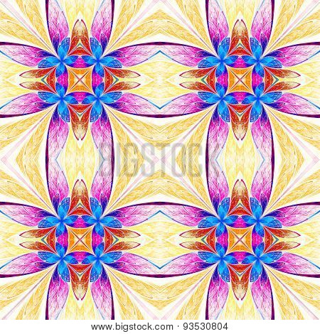Symmetrical Flower Pattern In Stained-glass Window Style On Light. Blue, Pink And  Beige Palette.