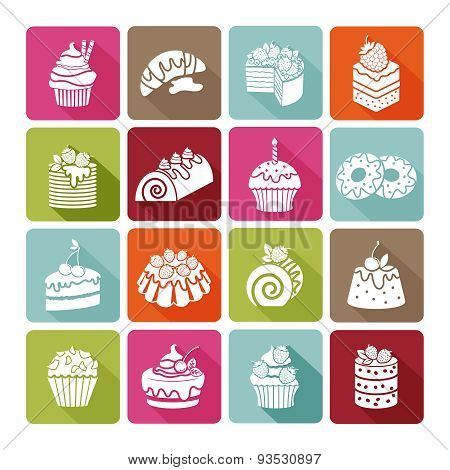 Flat dessert icons of cakes for bakeries and restaurants, cafes, shops