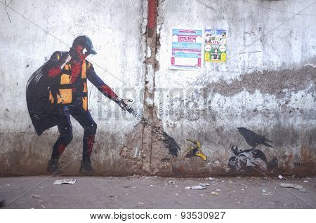 MUMBAI, INDIA - 12 JANUARY 2015: Graffiti art of Spiderman in Dharavi slum.