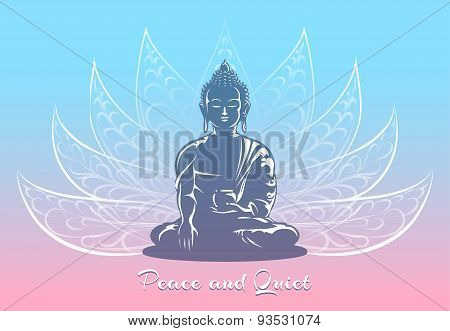 Buddha sitting in lotus pose