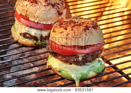 Closeup Of Homemade Burgers On Hot Bbq Grill