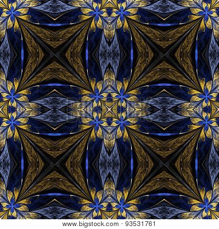 Symmetrical Flower Pattern In Stained-glass Window Style On Black. Beige And Blue Palette.