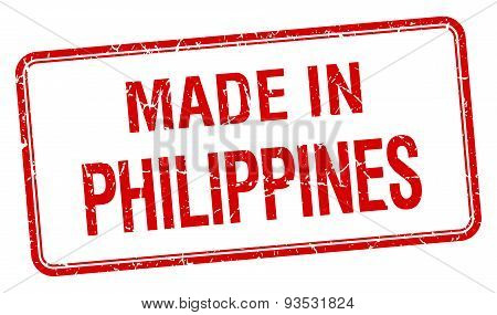 Made In Philippines Red Square Isolated Stamp
