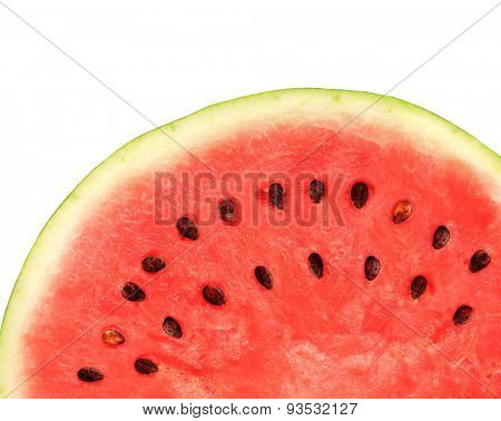Texture of ripe watermelon. Isolated on white background