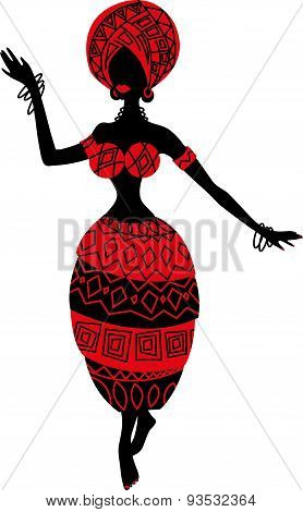 Beautiful black woman. African woman with ornament skirt
