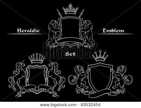 Heraldic logo signs set