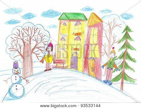 Children Playing In The Winter, Sledding, Making Snowmen