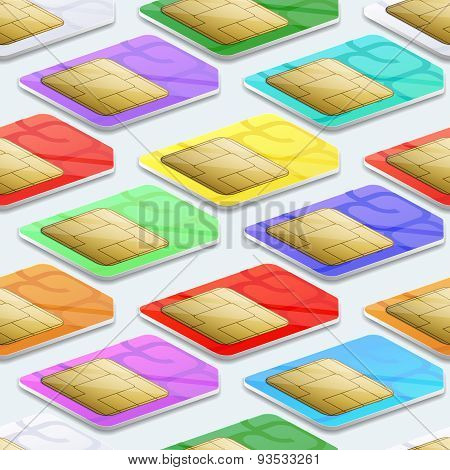 SIM cards seamless pattern background. Mobile telecommunication and wireless technology concept
