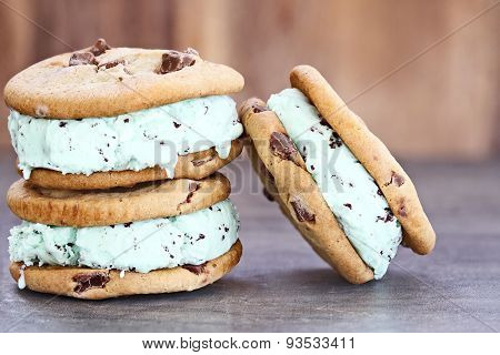 Chocolate Chip Mint Ice Cream Cookie Sandwiches