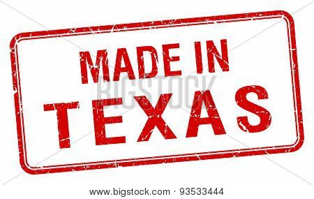 Made In Texas Red Square Isolated Stamp